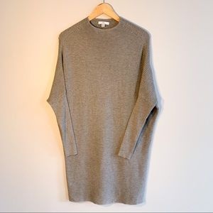 H Halston Mock Nexk Ribbed Knit Sweater Tunic
